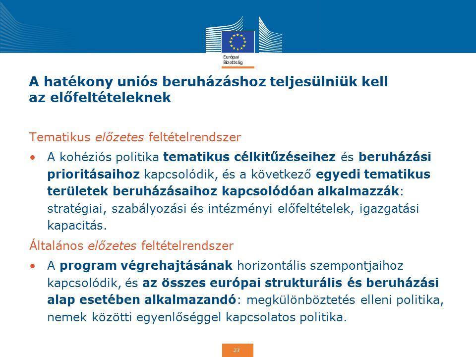 A hatékony uniós beruházáshoz teljesülniük kell az előfeltételeknek