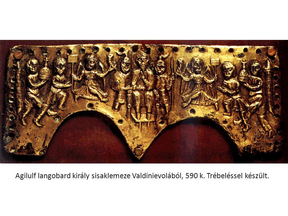 Agilulf langobard király sisaklemeze Valdinievolából, 590 k