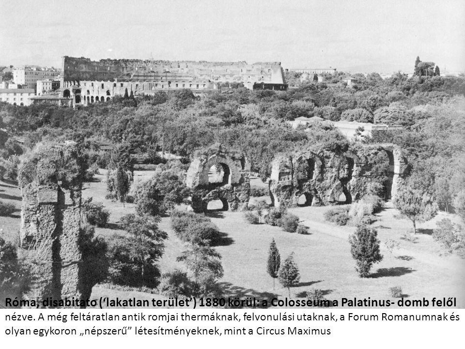 Róma, disabitato ('lakatlan terület') 1880 körül: a Colosseum a Palatinus- domb felől nézve.