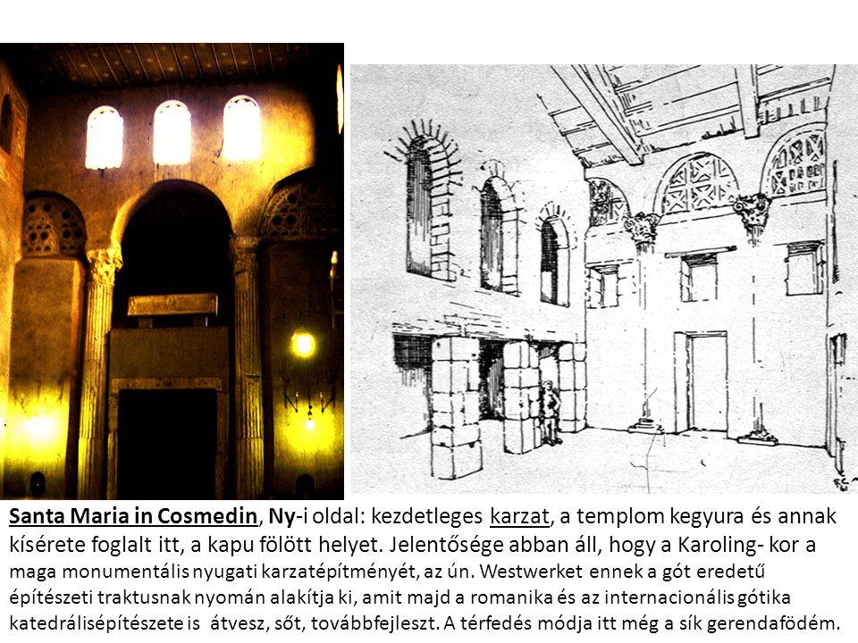Santa Maria in Cosmedin, Ny-i oldal: kezdetleges karzat, a templom kegyura és annak kísérete foglalt itt, a kapu fölött helyet.