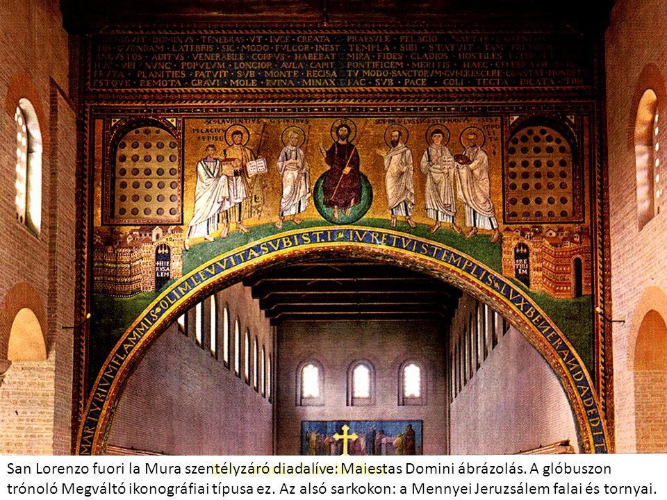 San Lorenzo fuori la Mura szentélyzáró diadalíve: Maiestas Domini ábrázolás. A glóbuszon trónoló Megváltó ikonográfiai típusa ez. Az alsó sarkokon: a Mennyei Jeruzsálem falai és tornyai.