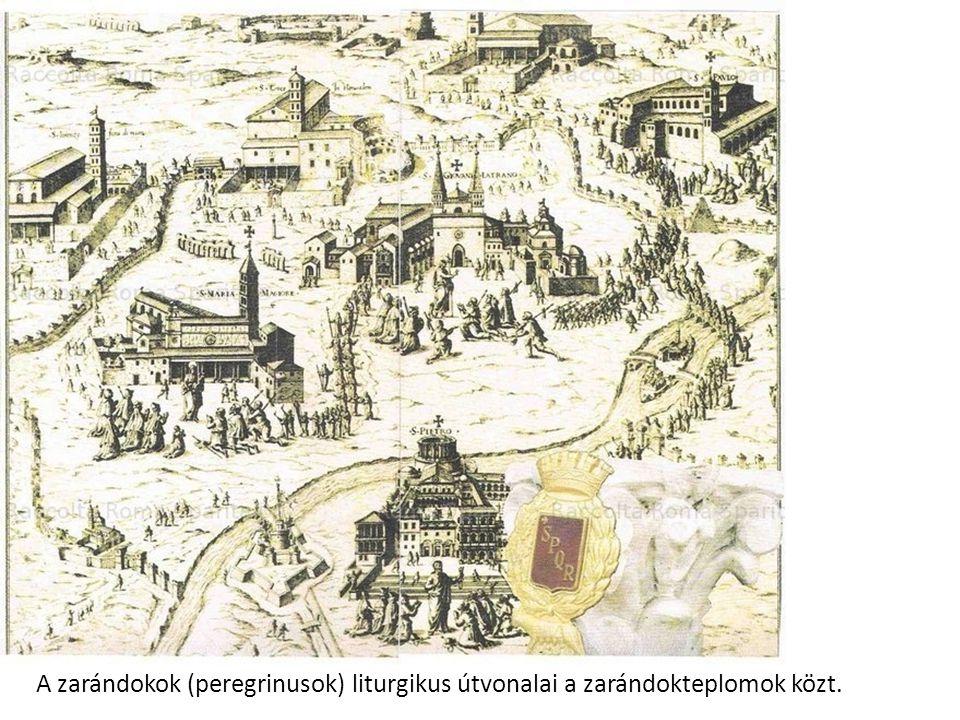 A zarándokok (peregrinusok) liturgikus útvonalai a zarándokteplomok közt.