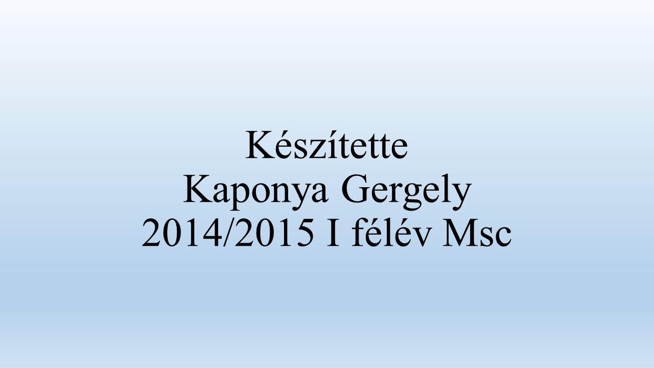 Készítette Kaponya Gergely 2014/2015 I félév Msc