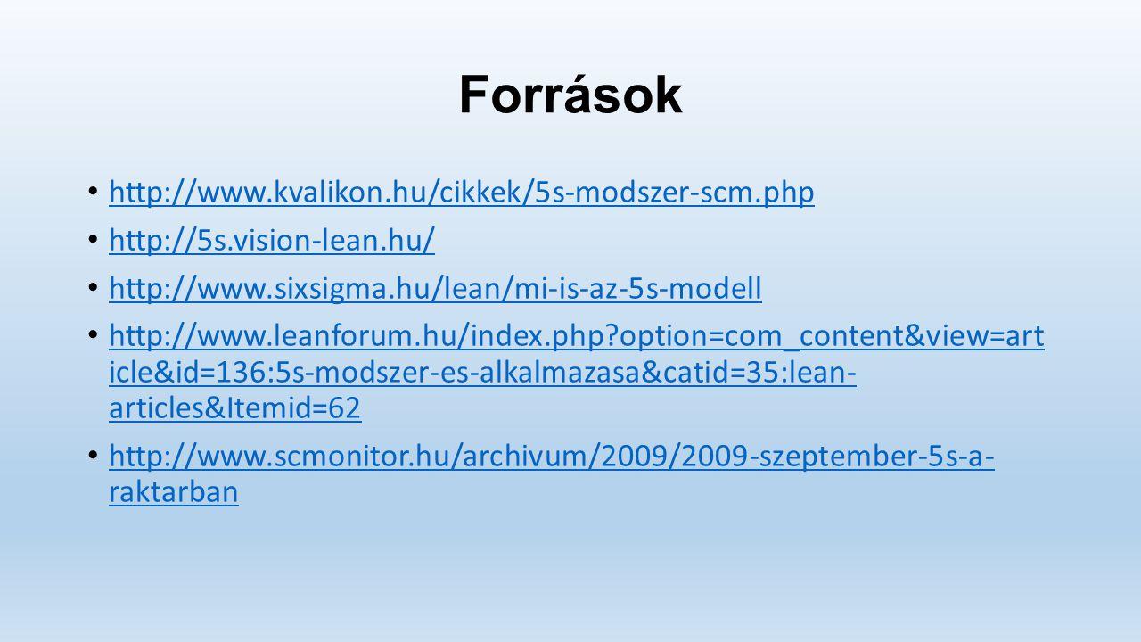 Források http://www.kvalikon.hu/cikkek/5s-modszer-scm.php