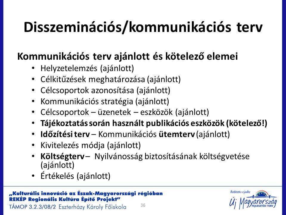 Disszeminációs/kommunikációs terv