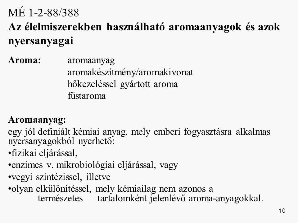 MÉ 1-2-88/388 Az élelmiszerekben használható aromaanyagok és azok nyersanyagai
