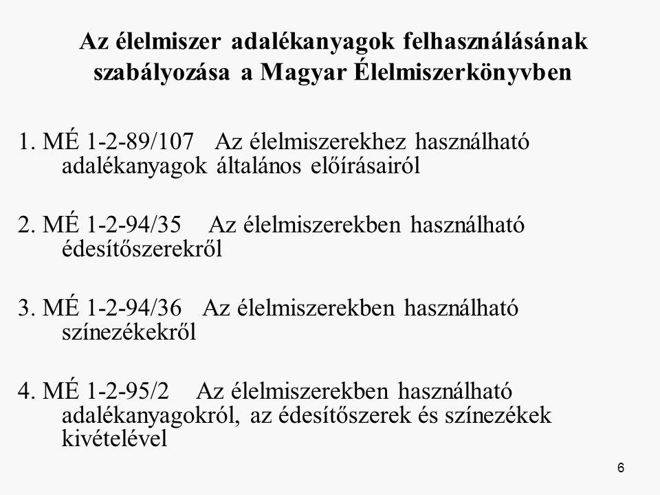 Az élelmiszer adalékanyagok felhasználásának szabályozása a Magyar Élelmiszerkönyvben