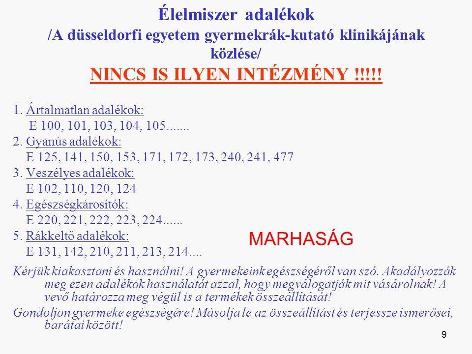 Élelmiszer adalékok /A düsseldorfi egyetem gyermekrák-kutató klinikájának közlése/ NINCS IS ILYEN INTÉZMÉNY !!!!!