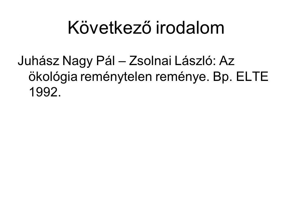 Következő irodalom Juhász Nagy Pál – Zsolnai László: Az ökológia reménytelen reménye.