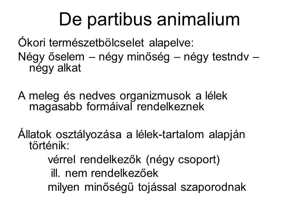 De partibus animalium Ókori természetbölcselet alapelve: