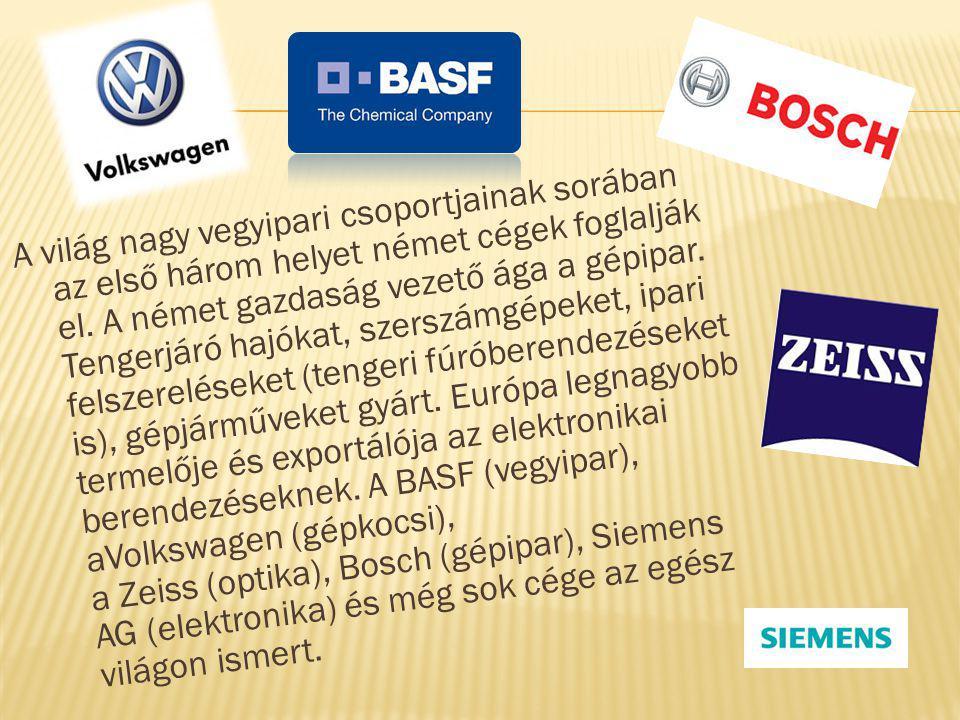 A világ nagy vegyipari csoportjainak sorában az első három helyet német cégek foglalják el.