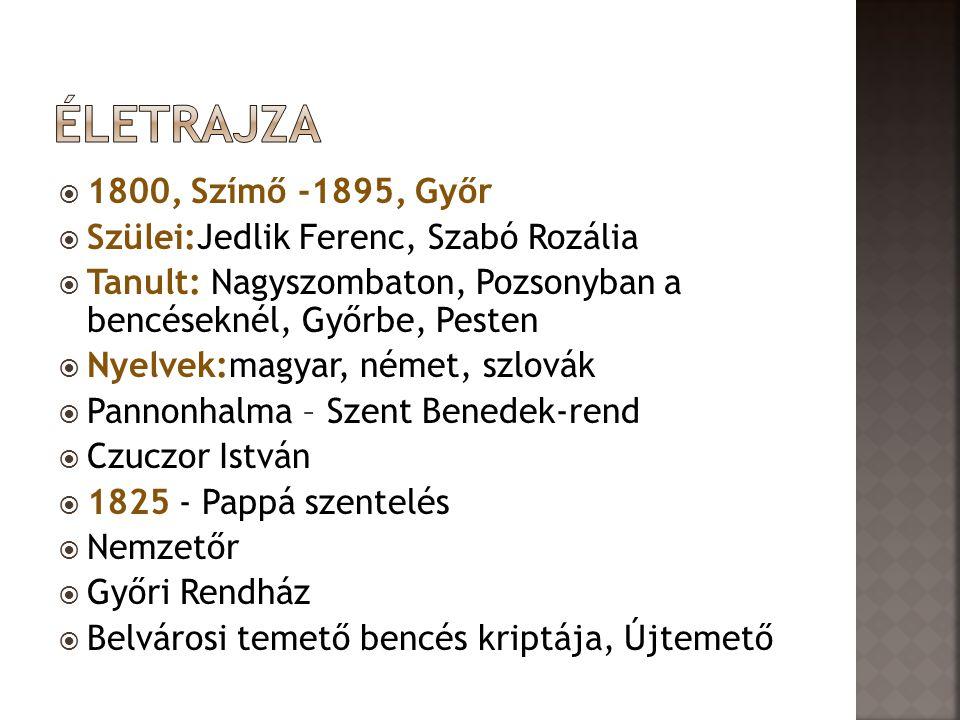 Életrajza 1800, Szímő -1895, Győr Szülei:Jedlik Ferenc, Szabó Rozália
