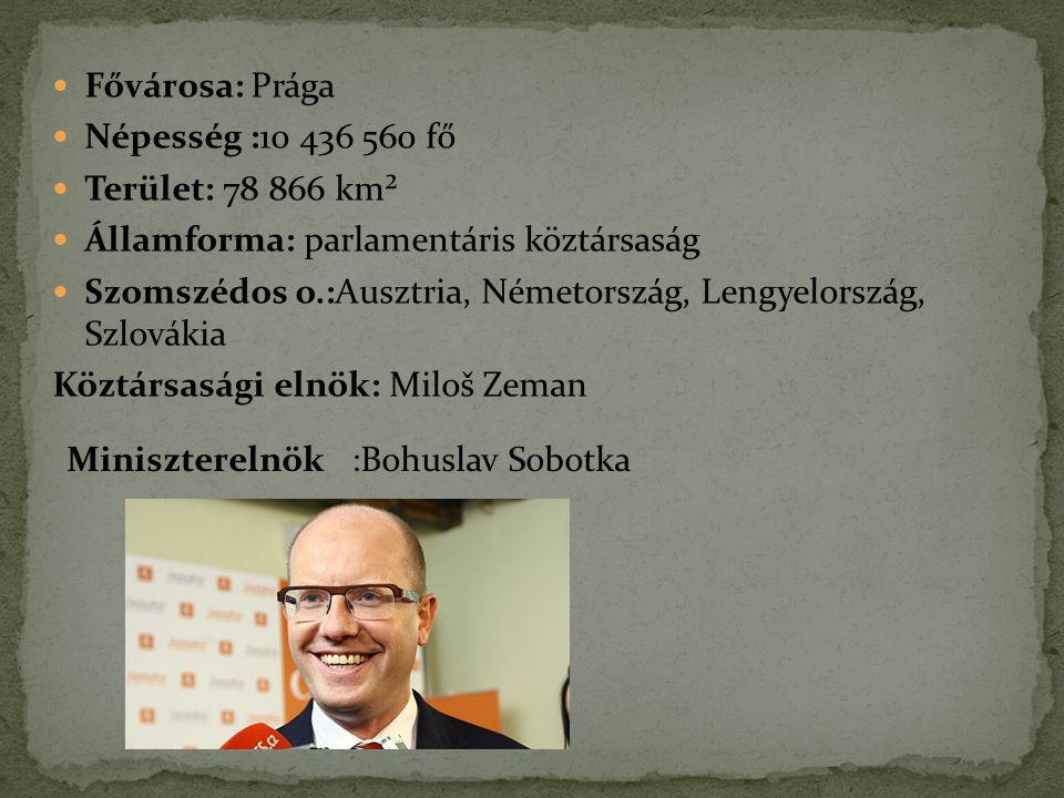 Fővárosa: Prága Népesség :10 436 560 fő. Terület: 78 866 km². Államforma: parlamentáris köztársaság.