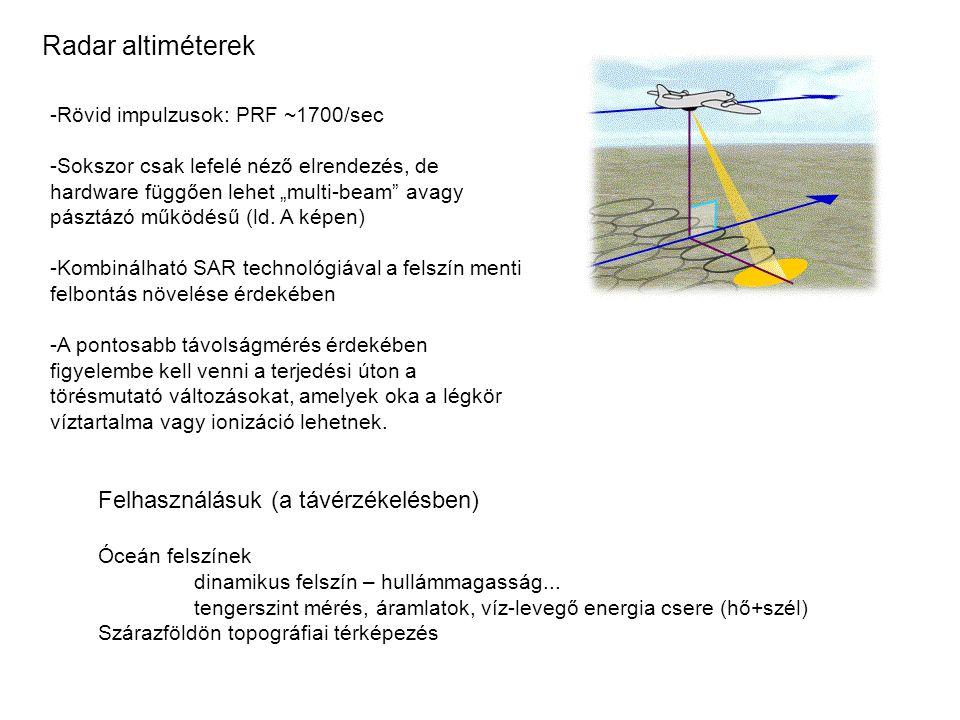 Radar altiméterek Felhasználásuk (a távérzékelésben)