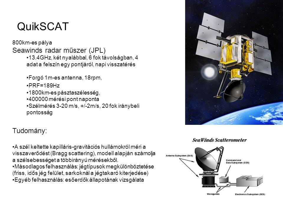 QuikSCAT Seawinds radar műszer (JPL) Tudomány: 800km-es pálya
