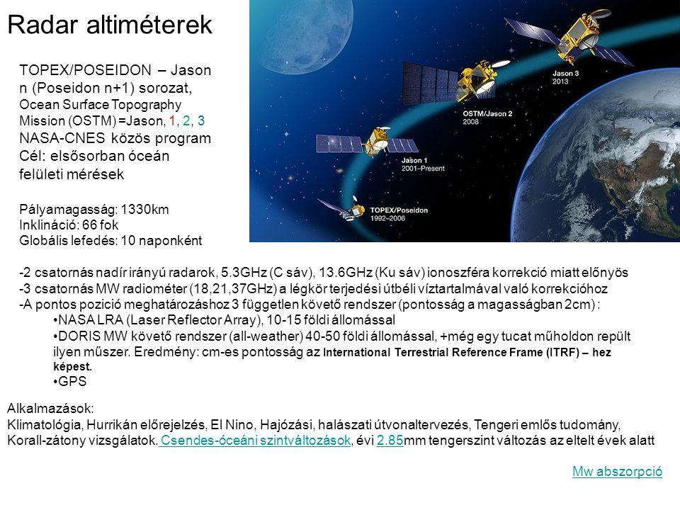 Radar altiméterek TOPEX/POSEIDON – Jason n (Poseidon n+1) sorozat,
