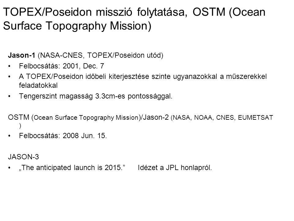TOPEX/Poseidon misszió folytatása, OSTM (Ocean Surface Topography Mission)