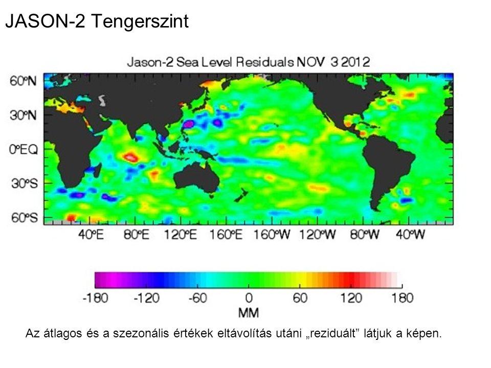 """JASON-2 Tengerszint Az átlagos és a szezonális értékek eltávolítás utáni """"reziduált látjuk a képen."""