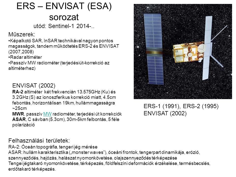 ERS – ENVISAT (ESA) sorozat utód: Sentinel-1 2014-..
