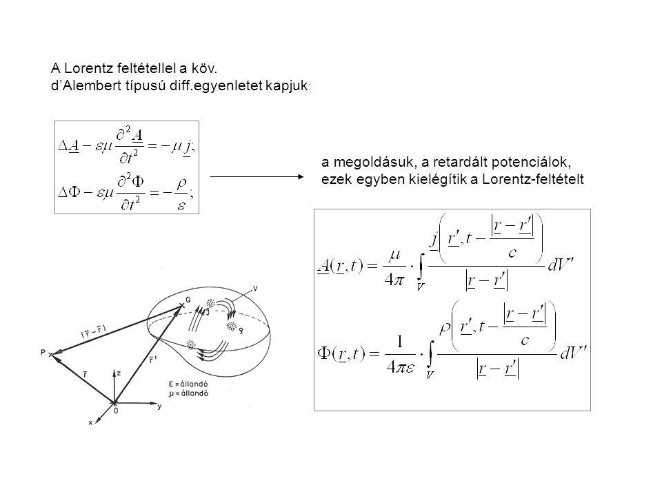 A Lorentz feltétellel a köv.
