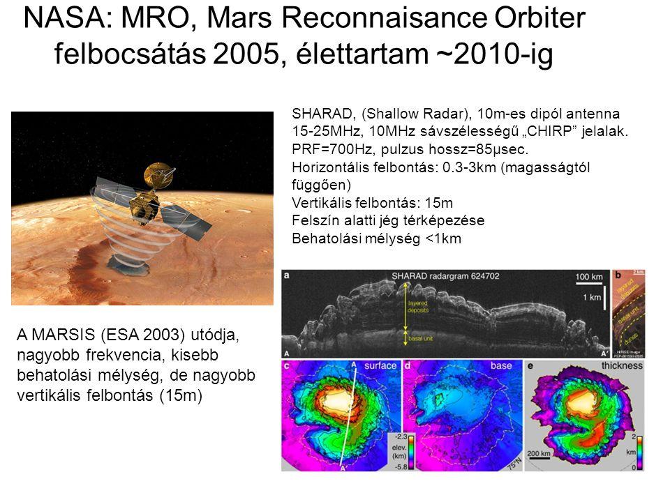 NASA: MRO, Mars Reconnaisance Orbiter felbocsátás 2005, élettartam ~2010-ig