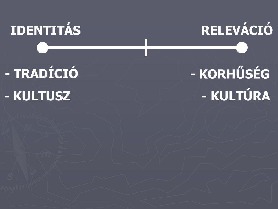IDENTITÁS RELEVÁCIÓ - TRADÍCIÓ - KORHŰSÉG - KULTUSZ - KULTÚRA
