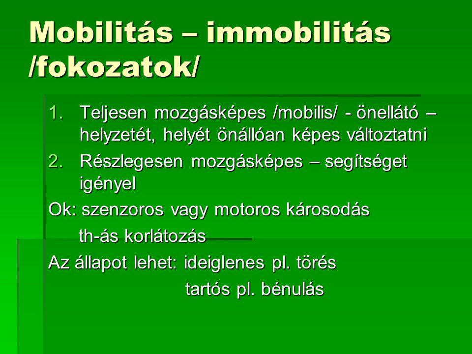 Mobilitás – immobilitás /fokozatok/