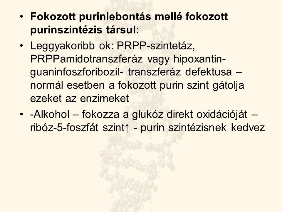 Fokozott purinlebontás mellé fokozott purinszintézis társul: