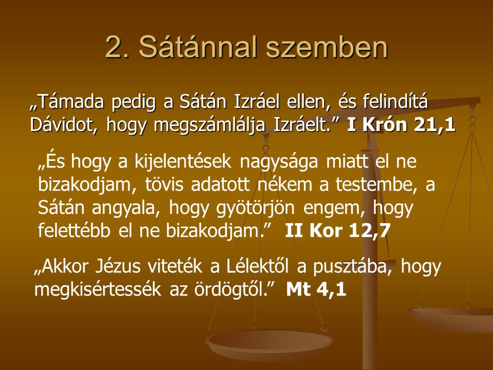 """2. Sátánnal szemben """"Támada pedig a Sátán Izráel ellen, és felindítá Dávidot, hogy megszámlálja Izráelt. I Krón 21,1."""
