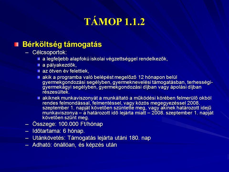 TÁMOP 1.1.2 Bérköltség támogatás Célcsoportok: