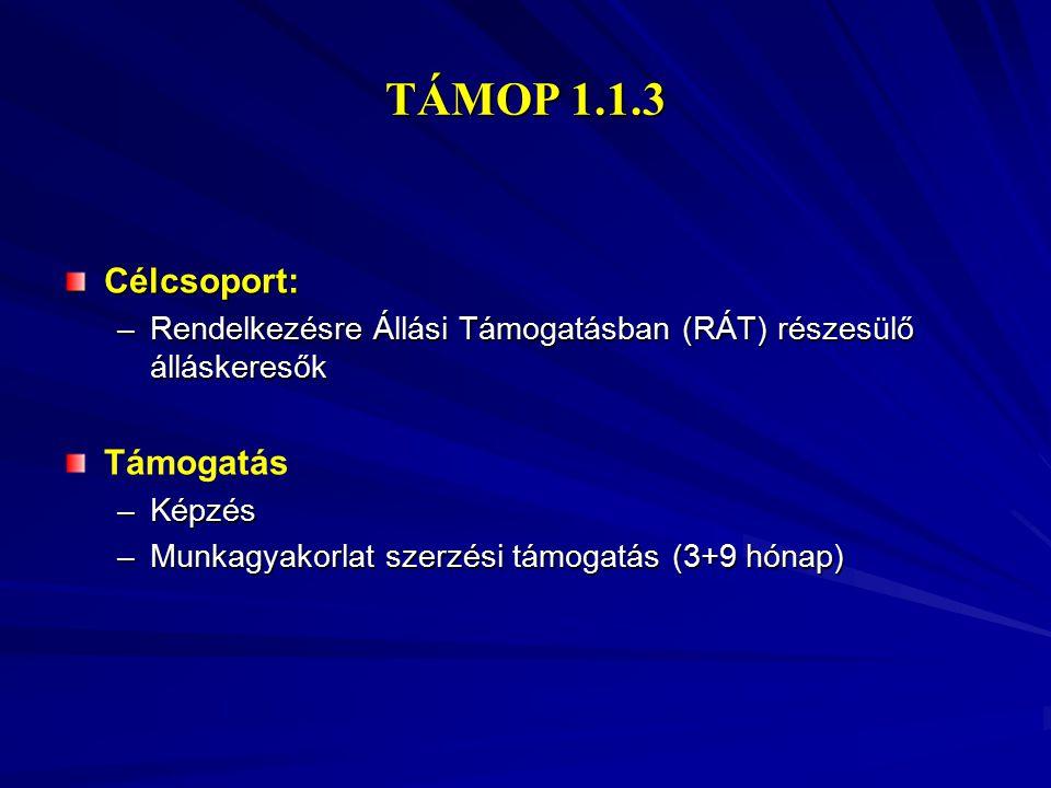 TÁMOP 1.1.3 Célcsoport: Támogatás