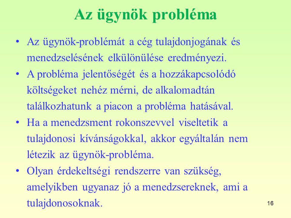 Az ügynök probléma Az ügynök-problémát a cég tulajdonjogának és menedzselésének elkülönülése eredményezi.