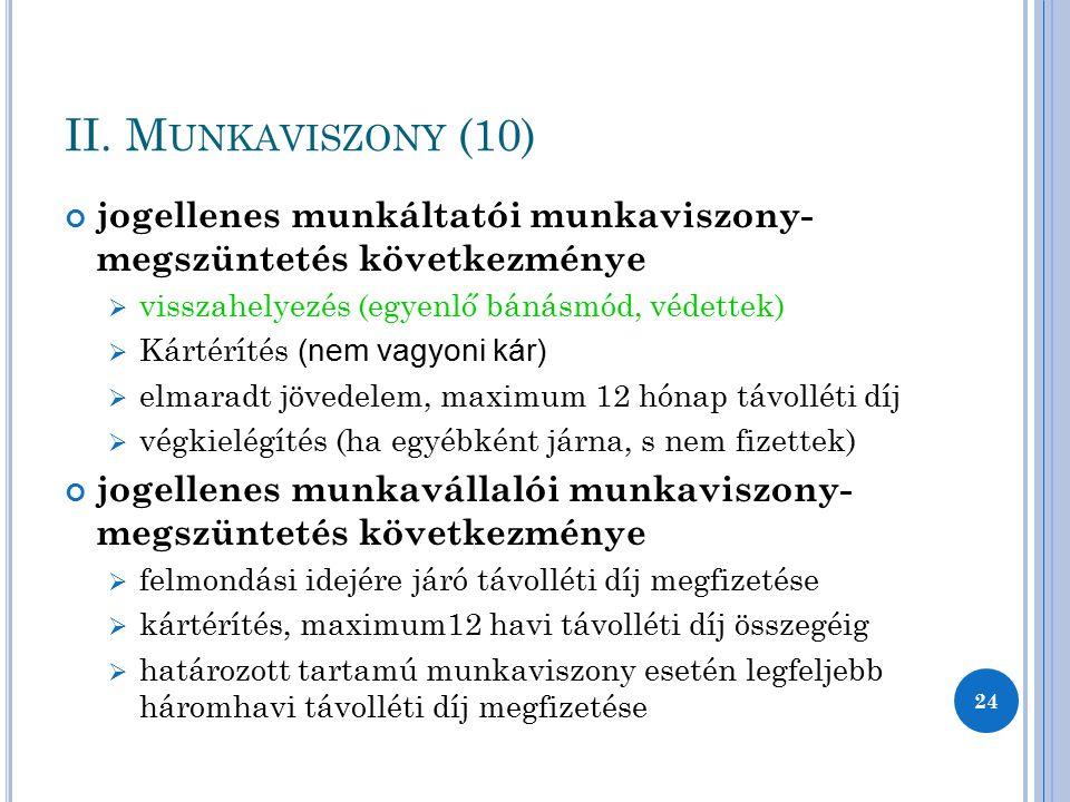 II. Munkaviszony (10) jogellenes munkáltatói munkaviszony- megszüntetés következménye. visszahelyezés (egyenlő bánásmód, védettek)