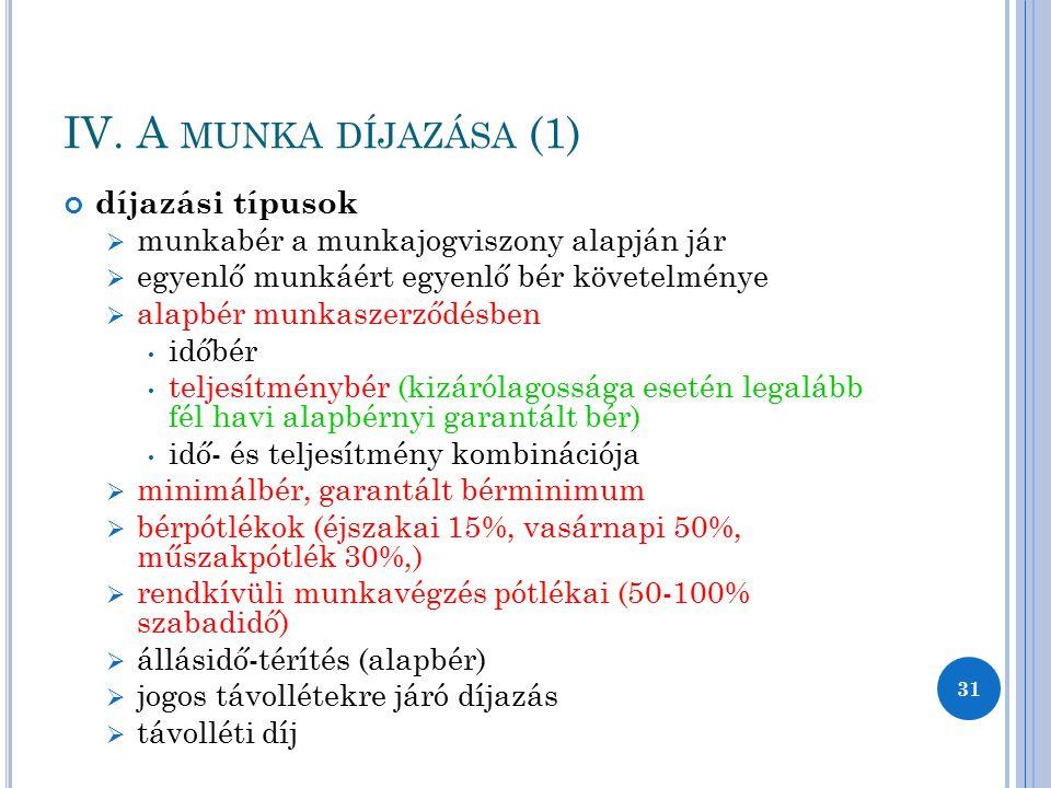 IV. A munka díjazása (1) díjazási típusok