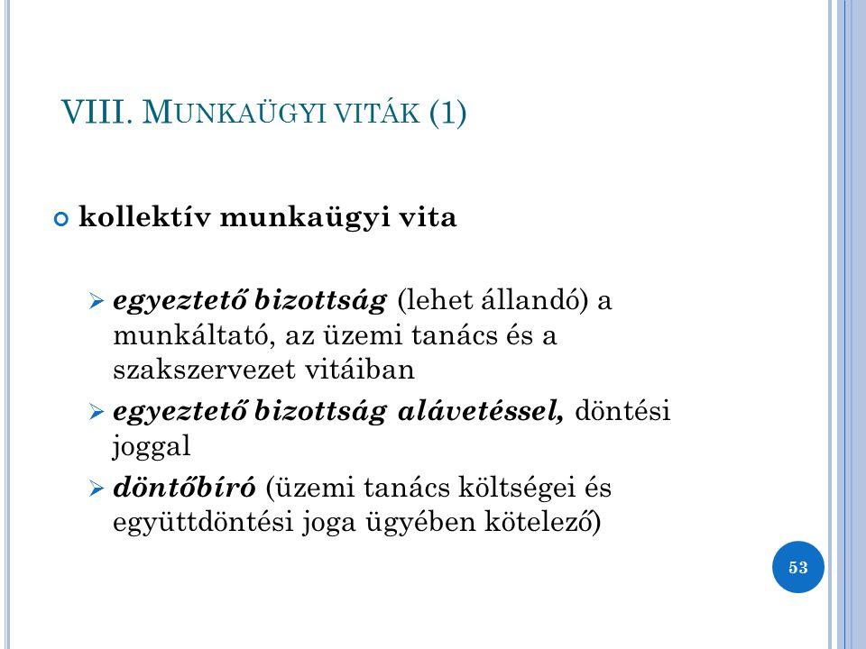 VIII. Munkaügyi viták (1)