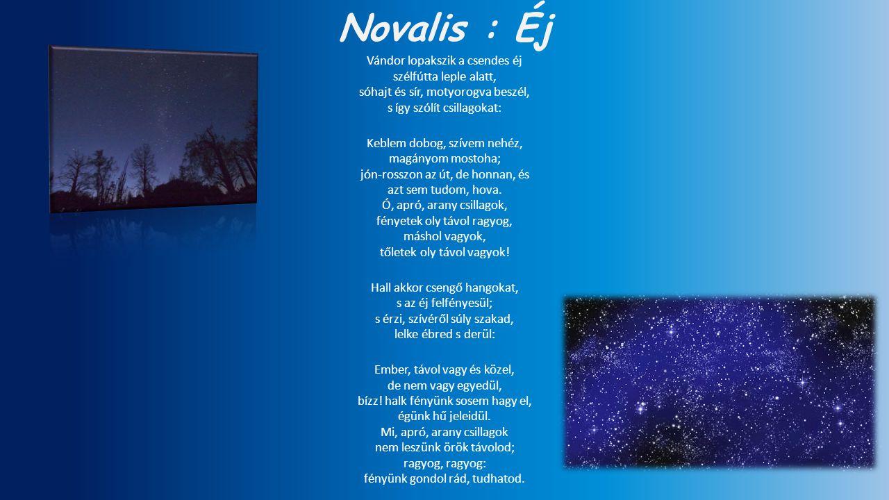 Novalis : Éj Vándor lopakszik a csendes éj szélfútta leple alatt,