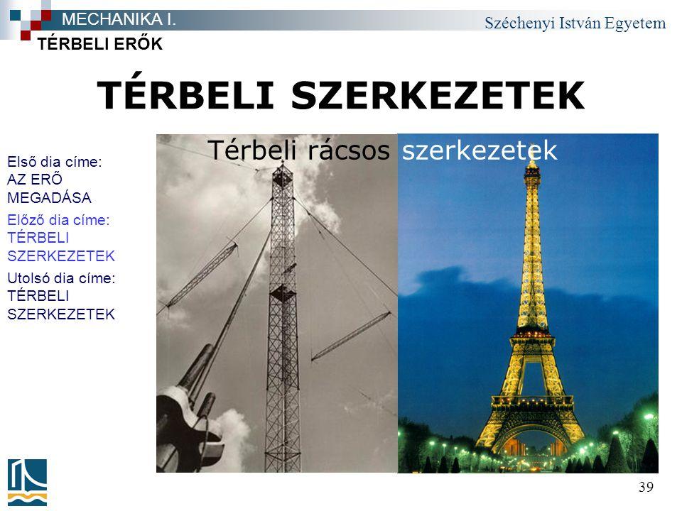 TÉRBELI SZERKEZETEK Térbeli rácsos szerkezetek MECHANIKA I.