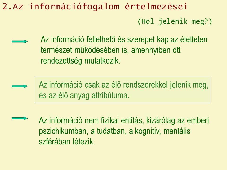 2.Az információfogalom értelmezései