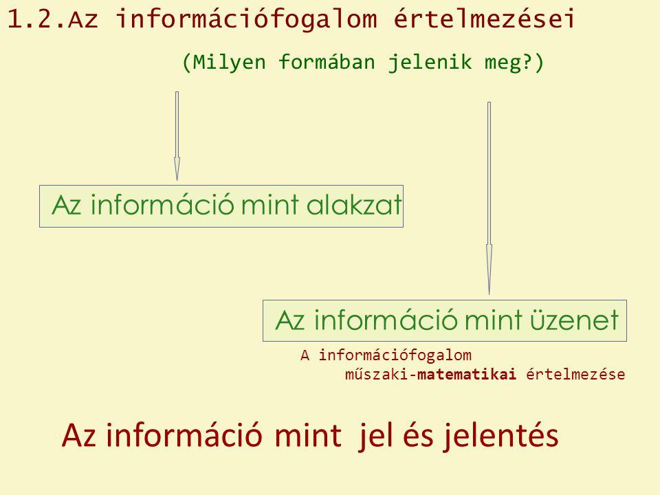 Az információ mint jel és jelentés