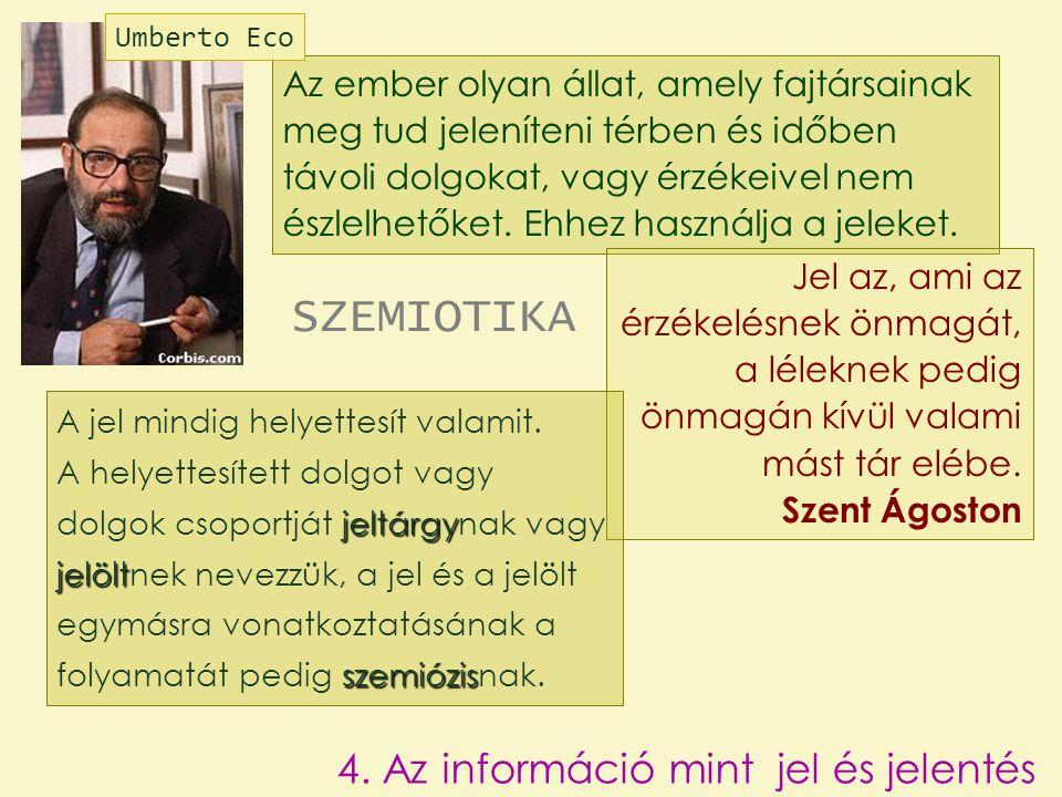 SZEMIOTIKA 4. Az információ mint jel és jelentés