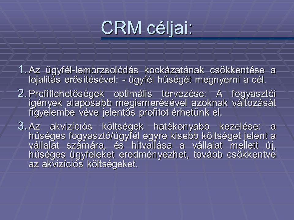 CRM céljai: Az ügyfél-lemorzsolódás kockázatának csökkentése a lojalitás erősítésével: - ügyfél hűségét megnyerni a cél.
