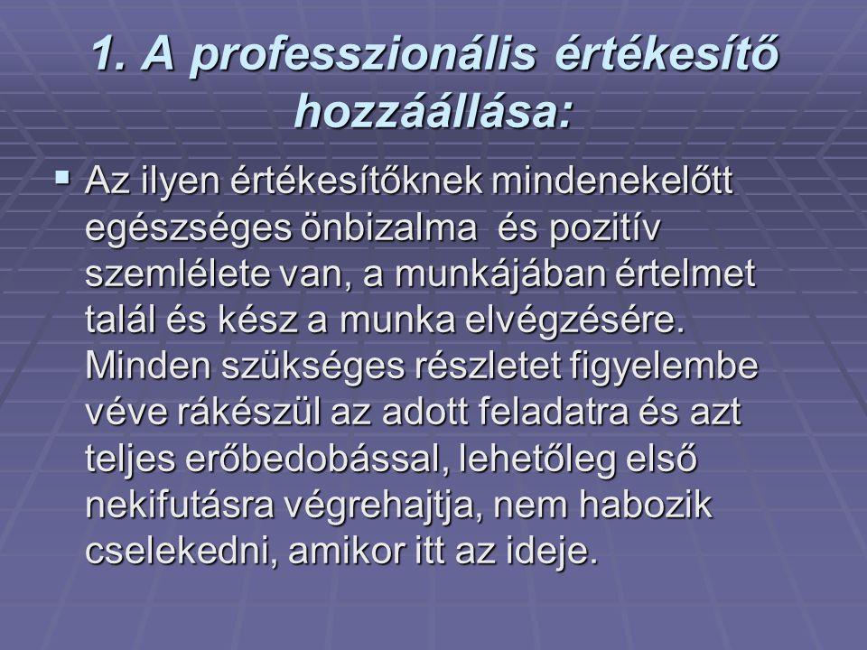 1. A professzionális értékesítő hozzáállása: