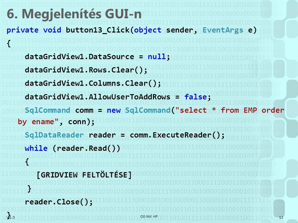 6. Megjelenítés GUI-n