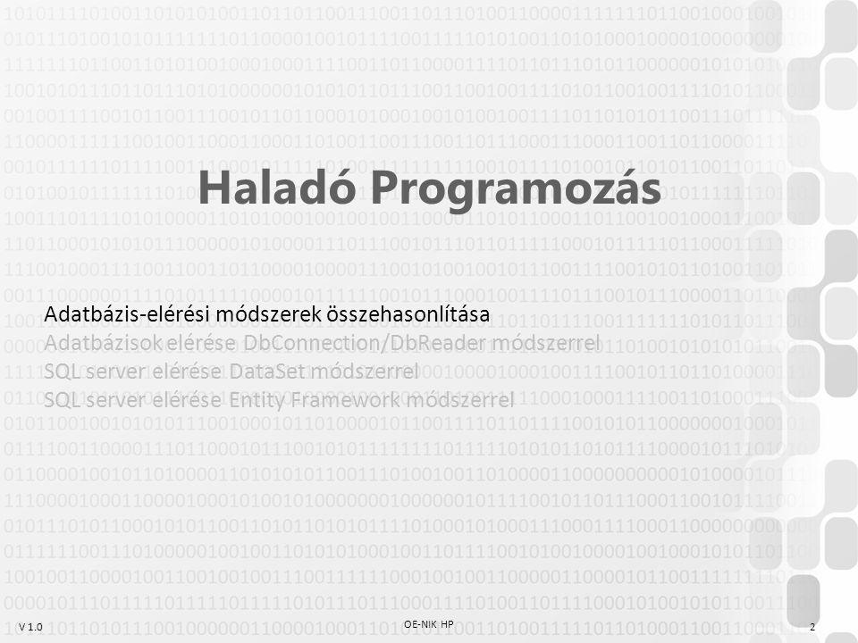 Haladó Programozás Adatbázis-elérési módszerek összehasonlítása