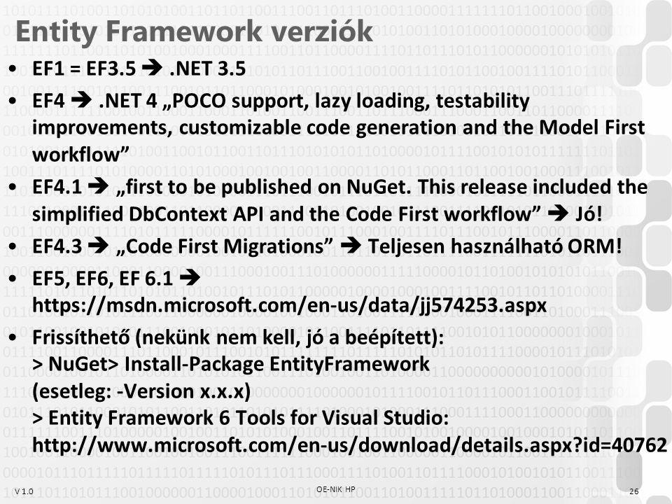 Entity Framework verziók
