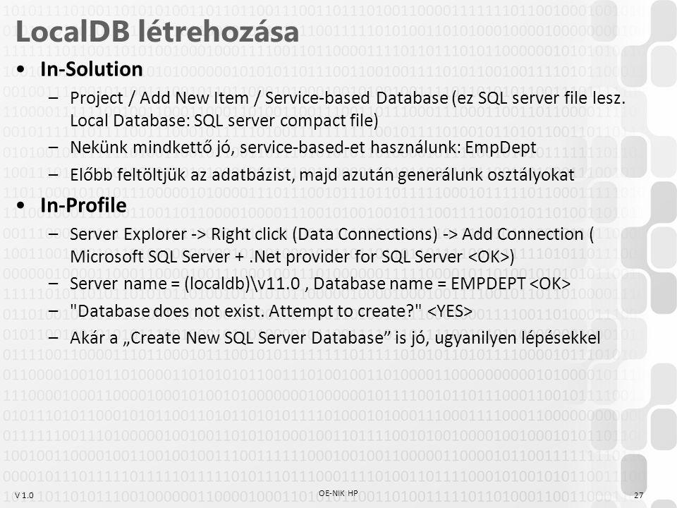 LocalDB létrehozása In-Solution In-Profile