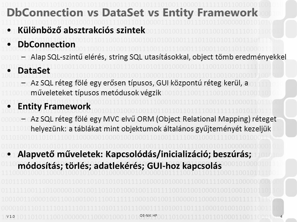 DbConnection vs DataSet vs Entity Framework