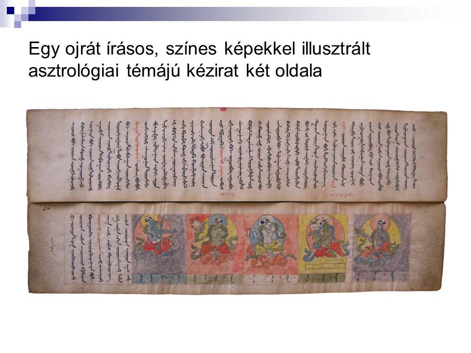 Egy ojrát írásos, színes képekkel illusztrált asztrológiai témájú kézirat két oldala