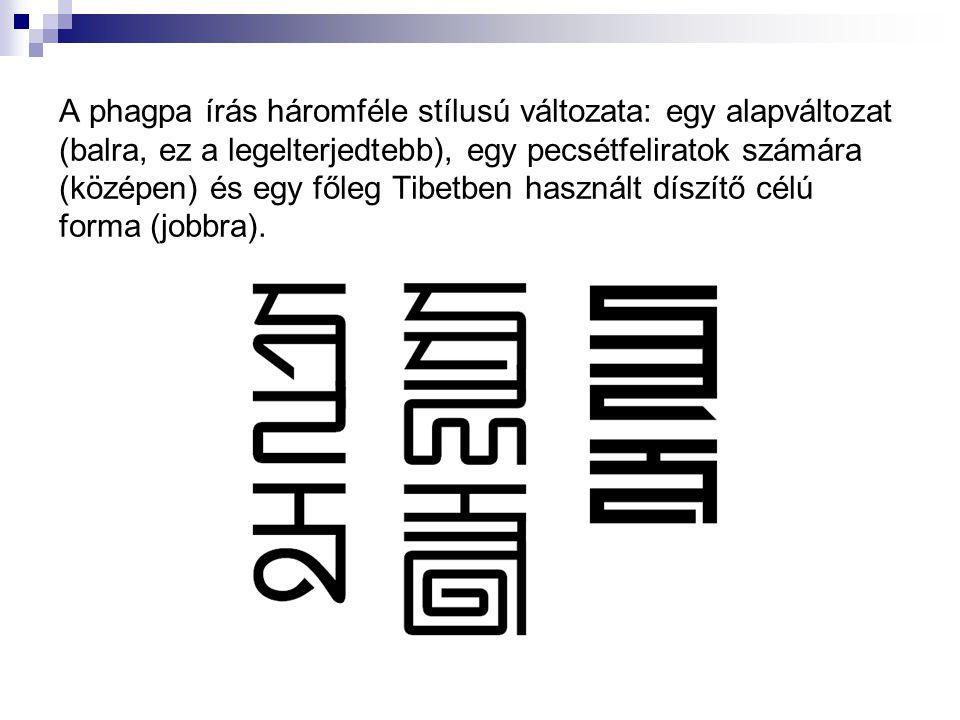 A phagpa írás háromféle stílusú változata: egy alapváltozat (balra, ez a legelterjedtebb), egy pecsétfeliratok számára (középen) és egy főleg Tibetben használt díszítő célú forma (jobbra).