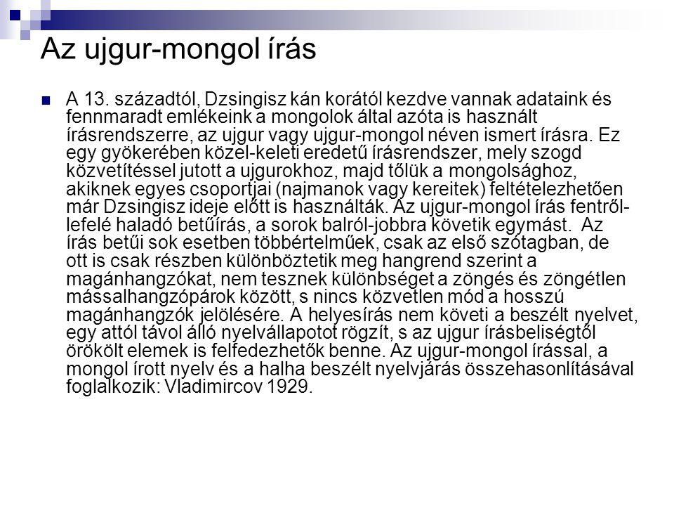 Az ujgur-mongol írás